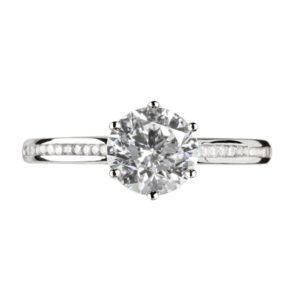 Splendide : Bague de fiançailles, six griffes, cathédrale et sertie diamants G/VS