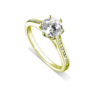 Splendide : Bague de fiançailles en or jaune 18k, six griffes, cathédrale et sertie diamants G/VS. Épaules serties rail 24 diamants G/VS total 0.11 carats.