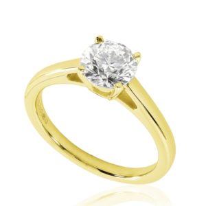 Belle : Bague de fiançailles en or jaune 18k, solitaire diamant dès 1ct à cathédrale et panier. Production et livraison en 18 à 4 jours ouvrés.