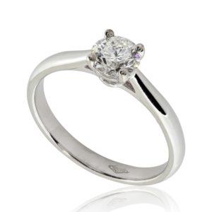 Bague de fiançailles distinguée en or blanc 18k, diamant 0.50ct G SI1 taille Excellente, taille 49 à 51