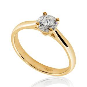 Féminine : Bague de fiançailles en or rose 18k, solitaire à cathédrale et panier . Production et livraison en 7 à 4 jours ouvrés.
