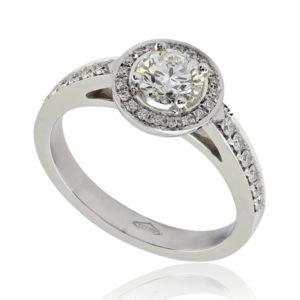 Bague de fiançailles halo épaulé, diamant 0.50ct H VS2 taille Excellente, or blanc 18k, taille 51. Halo et épaules serties 32 diamants H/SI total 0.17 carats.