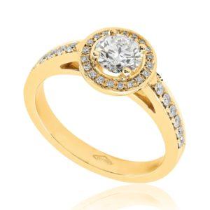 Somptueuse : Bague de fiançailles en or rose 18k, halo épaulé de diamants. Halo et épaules serties 32 diamants G/VS total 0.15 carats.