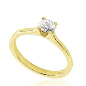 Classique : Bague de fiançailles en or jaune 18k, solitaire confortable pour petits doigts. Production et livraison en 18 à 4 jours ouvrés.