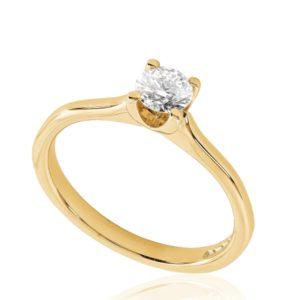 Classique : Bague de fiançailles en or rose 18k, solitaire confortable pour petits doigts. Production et livraison en 18 à 4 jours ouvrés.