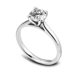 Élégante : Bague de fiançailles en or blanc 18k, solitaire diamant à cathédrale. Production et livraison en 18 à 4 jours ouvrés.