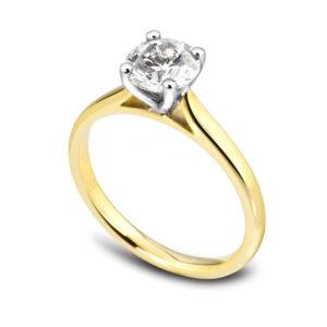 Élégante : Bague de fiançailles en or jaune 18k, solitaire diamant à cathédrale. Production et livraison en 18 à 4 jours ouvrés.