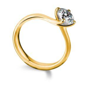 Sublime : Bague de fiançailles diamant solitaire nord-sud en or jaune 18k. Production et livraison en 18 à 4 jours ouvrés.