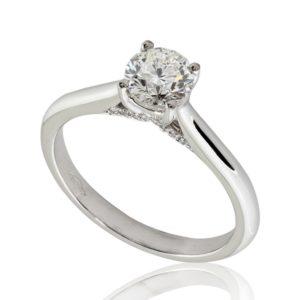 Bague de fiançailles 0.54ct H VS2 taille Excellente au pavage délicat, en or blanc 18k, taille 49 à 51. Pavage latéral 20 diamants H/SI total 0.03 carats.