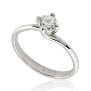 Bague diamant 0.40ct H VS1 taille Excellente, étreint par 4 griffes nord-sud, or blanc 18k, taille 51. Livraison rapide en 3 à 1 jours ouvrés.