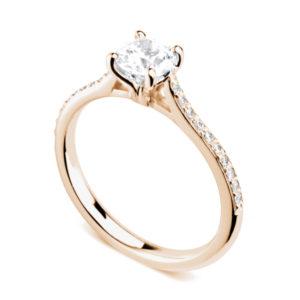 Luxuriante : Bague diamant en or rose 18k aux épaules serties et cathédrale. Épaules serties grains 20 diamants G/VS total 0.08 carats.