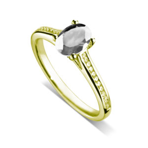 Ovale : Bague diamant en or jaune 18k, cathédrale et sertie diamants G/VS. Épaules serties rail 24 diamants G/VS total 0.11 carats.