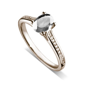 Ovale : Bague diamant en or rose 18k, cathédrale et sertie diamants G/VS. Épaules serties rail 24 diamants G/VS total 0.11 carats.