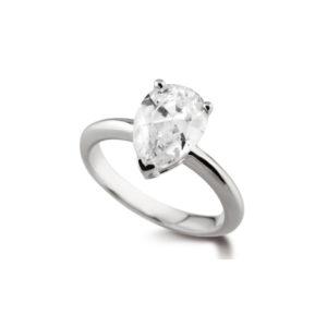 Poire Classique : Bague diamant en or blanc 18k. Production et livraison en 18 à 4 jours ouvrés.