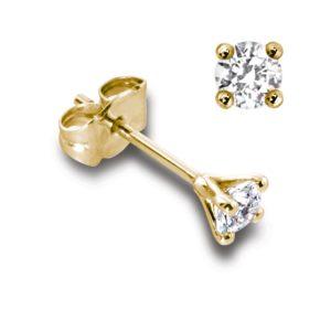 Classiques : Boucles d'oreilles en or jaune 18k, quatre griffes pour diamants jusqu'à 2x 0,25ct. Production et livraison en 18 à 4 jours ouvrés.