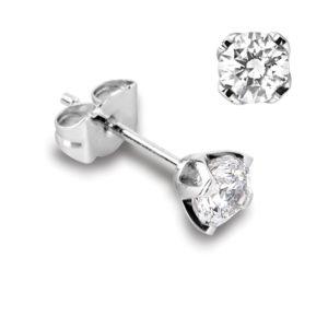 Féminines : Boucles d'oreilles en or blanc 18k, quatre griffes pour diamants jusqu'à 2x 0,70ct. Production et livraison en 18 à 4 jours ouvrés.