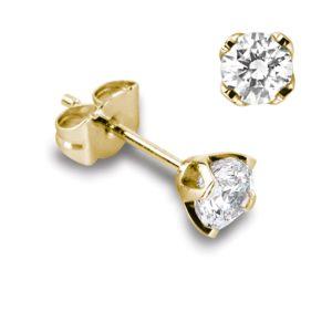 Féminines : Boucles d'oreilles en or jaune 18k, quatre griffes pour diamants jusqu'à 2x 0,70ct. Production et livraison en 18 à 4 jours ouvrés.