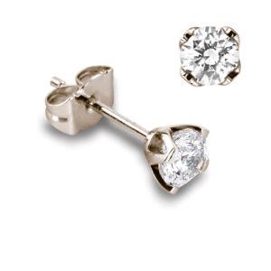 Féminines : Boucles d'oreilles en or rose 18k, quatre griffes pour diamants jusqu'à 2x 0,70ct. Production et livraison en 18 à 4 jours ouvrés.