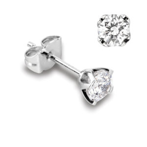Féminines : Boucles d'oreilles en platine, quatre griffes pour diamants jusqu'à 2x 0,70ct. Production et livraison en 18 à 4 jours ouvrés.