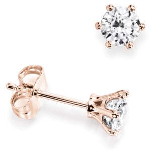 Magnifiques : Boucles d'oreilles diamant en or rose 18k à six griffes. Production et livraison en 10 à 5 jours ouvrés.