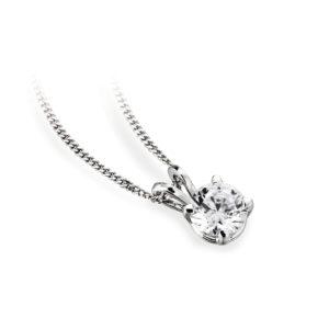 Ravissant : Pendentif diamant solitaire en or blanc 18k, chaîne en or incluse. Production et livraison en 18 à 4 jours ouvrés.