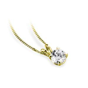 Ravissant : Pendentif diamant solitaire en or jaune 18k, chaîne en or incluse. Production et livraison en 18 à 4 jours ouvrés.