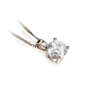 Brillant : Pendentif diamant solitaire en or rose 18k, chaîne en or incluse. Production et livraison en 18 à 4 jours ouvrés.