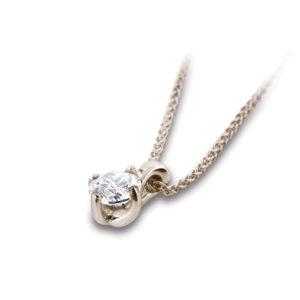Classique : Pendentif diamant solitaire en or rose 18k, chaîne en or incluse. Production et livraison en 18 à 4 jours ouvrés.