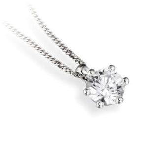 Superbe : Pendentif diamant en or blanc 18k six griffes, chaîne en or incluse. Production et livraison en 10 à 5 jours ouvrés.