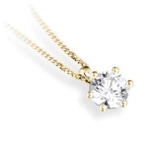 Superbe : Pendentif diamant en or jaune 18k six griffes, chaîne en or incluse. Production et livraison en 10 à 5 jours ouvrés.