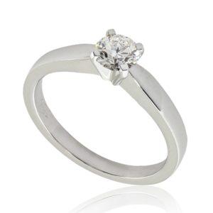 Solitaire classique en or blanc 18k, diamant 0.42ct G VS2 taille Excellente, taille 52 à 54. Livraison rapide en 3 à 1 jours ouvrés.
