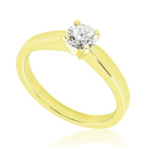 Moderne : Solitaire diamant en or jaune 18k, quatre griffes . Production et livraison en 7 à 4 jours ouvrés.