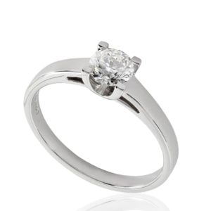 Solitaire diamant 0.51ct H VS2 GIA taille Excellente, or blanc 18k, taille 53 à 55