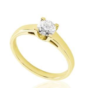 Contemporaine : Solitaire diamant en or jaune 18k à cathédrale. Production et livraison en 18 à 4 jours ouvrés.