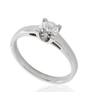 Contemporaine : Solitaire diamant en platine à cathédrale. Production et livraison en 18 à 4 jours ouvrés.