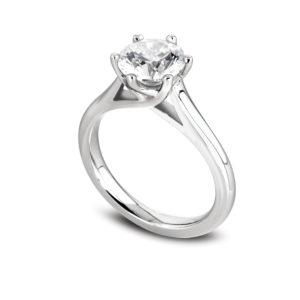 Jolie : Solitaire diamant en platine, cathédrale et six griffes en treillis. Production et livraison en 18 à 4 jours ouvrés.