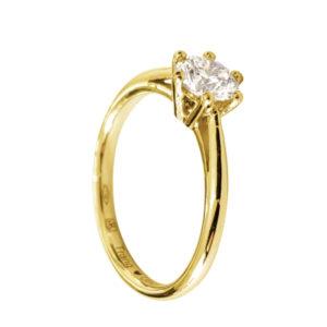 Merveilleuse : solitaire diamant, bague à six griffes et cathédrale en or jaune 18k. Production et livraison en 7 à 4 jours ouvrés.
