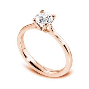 Naturelle : Solitaire diamant en or rose 18k à quatre griffes et cathédrale. Production et livraison en 7 à 4 jours ouvrés.