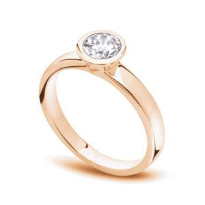 Unique : Solitaire diamant en or rose 18k serti clos. Production et livraison en 7 à 4 jours ouvrés.